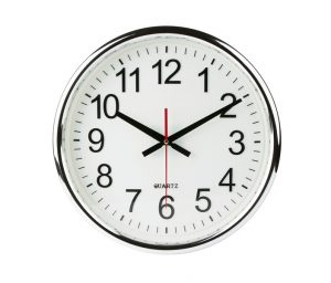 standard wall clock on a white background