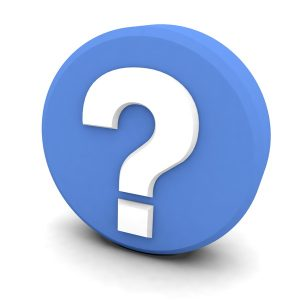 white question mark on a blue background