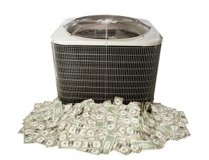 air-conditioner-outside-unit-sitting-atop-money-on-white-background